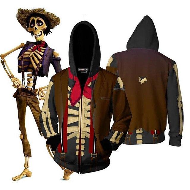 Funny CoCo Migul Grandpa Cosplay Hoodies Skull Hector Rivera Halloween Costumes Zipper Hoodie Sweatshirt For Men Women