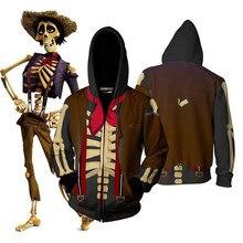 Śmieszne CoCo Migul dziadek Cosplay bluzy czaszka Hector Rivera Halloween kostiumy bluza z kapturem na zamek bluza dla mężczyzn kobiety