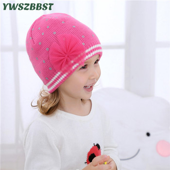 New Fashion Crochet Autumn Mesh Bowknot Baby Cap Knitted Winter Hat Warm Girls