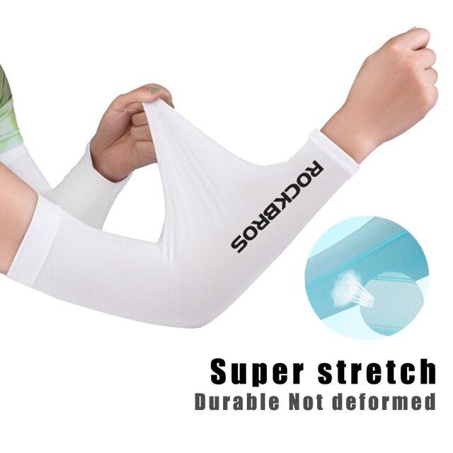 Rockbros tecido de gelo respirável proteção uv correndo mangas braço fitness basquete cotovelo almofada esporte ciclismo ao ar livre aquecedores braço 3