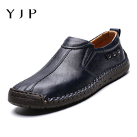 YJP Men's Casual Shoes Hand Stitching Cow Leather Loafers Breathable Antiskid Soft Comfort Oxfords Shoe Business Outdoor Shoes