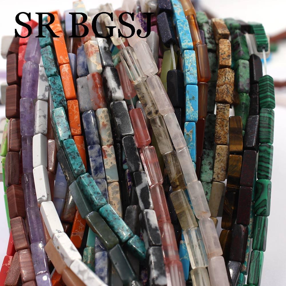 Бесплатная доставка 4x14 мм ювелирные изделия diy Keshi прямоугольные Jaspers Jades бусины из драгоценного камня Strand 15