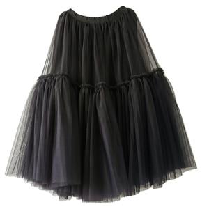 Image 4 - Treutoyeu ออกแบบหรูหรา Tulle จีบกระโปรงสีดำสีเทานุ่มตาข่ายสูงเอว Maxi กระโปรงยาวผู้หญิง Faldas Mujer Moda 2020 jupe