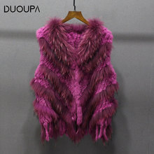 DUOUPA 2019  Autumn and Winter Hot Fashion Rabbit Fur Woven Vest Twill Trend Ladies Clothing