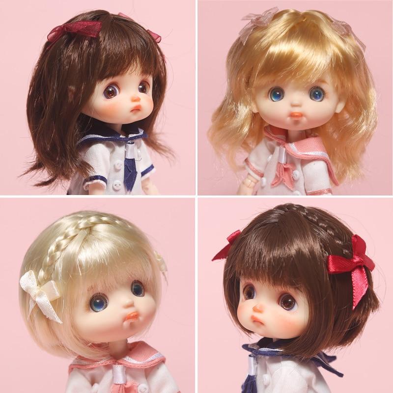 1/8 Bjd doll Wig High Temperature Bangs BOBO head short hair Straight hair long curly hair Golden pink black ob11 SD Doll wig