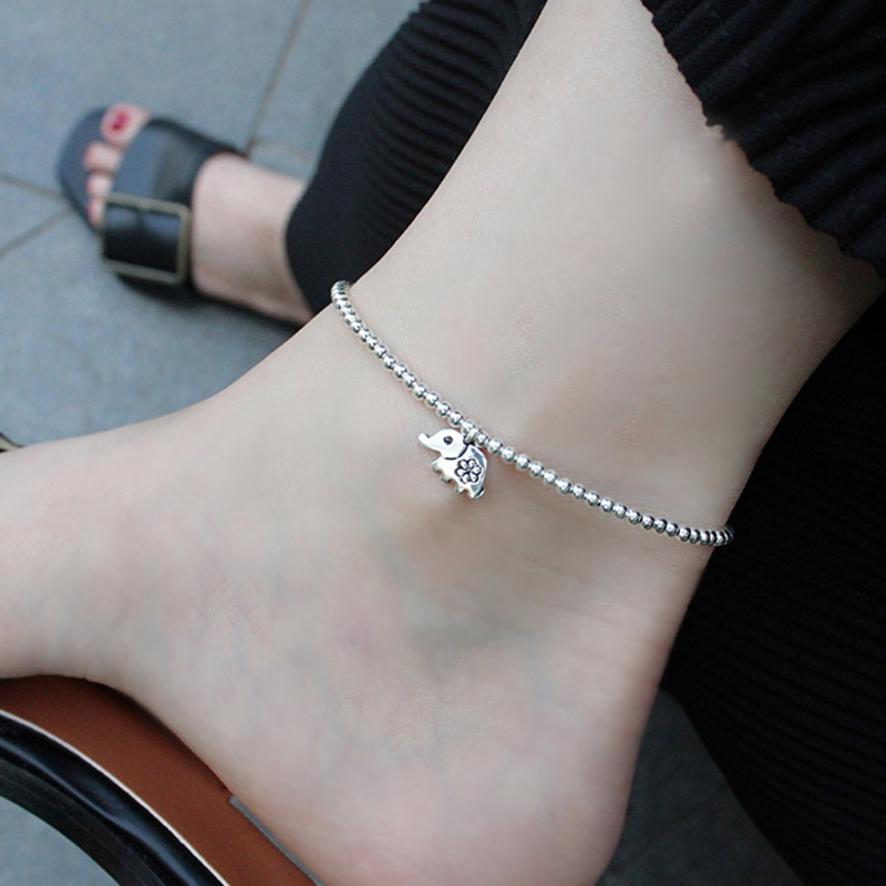Elephant Anklet Foot Chain 925 Sterling Silver Beads Ankle Bracelet Charm Womens Anklets Jewelry Ladies Leg Accessories Gift