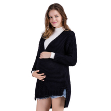 Maternity Coat Solid Color Knit Sweater Winter Cardigans for Women Oversize Long Sleeve Long Cardigan Female Knitted Clothes sweet solid color collarless long raglan sleeve cardigan for women