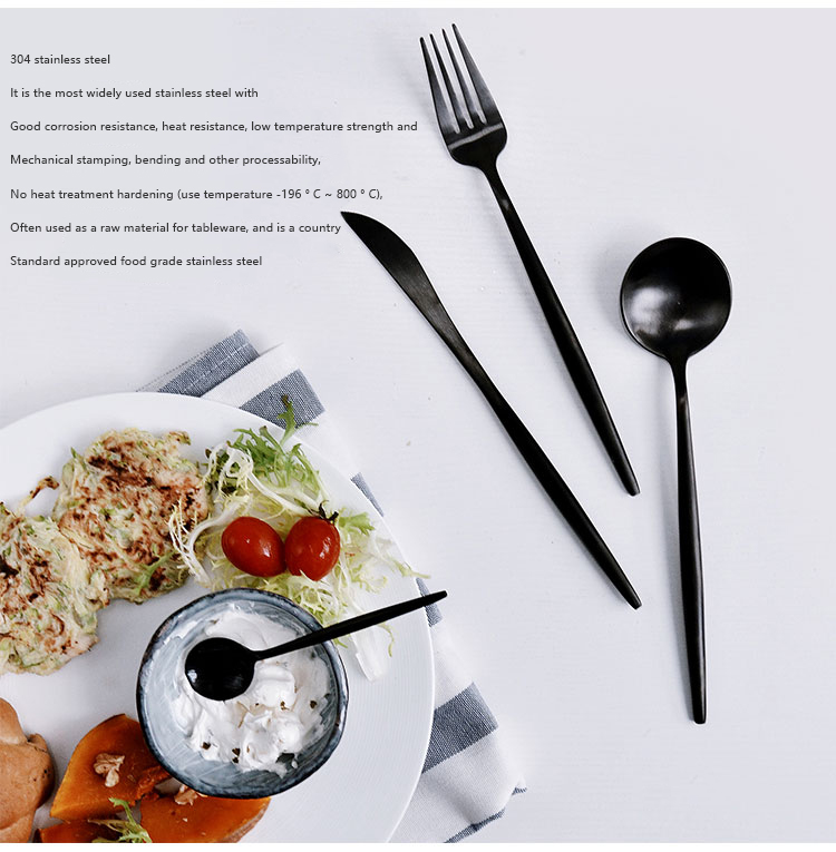 Stainless Steel Black Cutlery Set