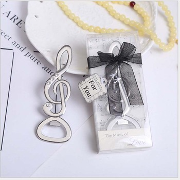 20pcs/lot Souvenir Wedding Gifts Personalized Beer Opener Musical Note Openner With Exquisite Box Alloy Presents For Party Guest