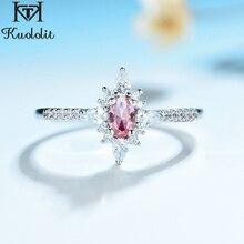 Kuololit Morganite חן טבעות לנשים 925 סטרלינג כסף סגלגל Cut נוצר אבן טבעת אירוסין כלה מתנות תכשיטים