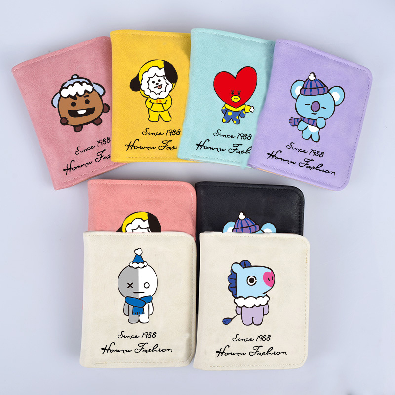HUGWISER Fashion Christmas Youth PU Leather Short Printing Cute Cartoon Wallets Lovely Student Coin Purse With Card Photo Holder