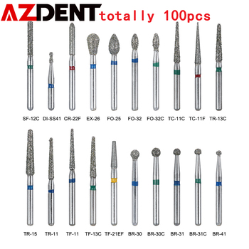 AZDENT 100pcs/20Boxes Dental Diamond Burs Drill For Teeth Porcelain Ceramics Composite Polishing High Speed Handpiece Dia.1.6mm