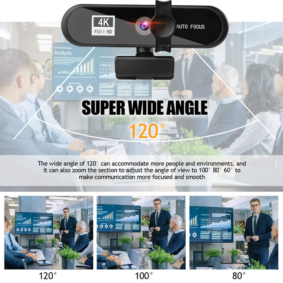 2K 4K Webcam Conference PC Webcam Autofocus USB Web Camera Laptop Desktop for Office Meeting Home With MIC 1080P Full HD Web Cam 5