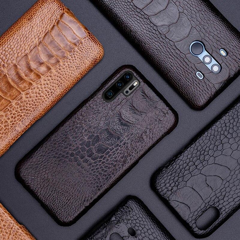 Чехол для телефона для huawei P20 P30 lite Коврики 10 20 Pro lite Y6 Y9 2018 P Smart 2019 натуральный страусовый кожи для Honor 7A 7X8X9 10 lite - 5