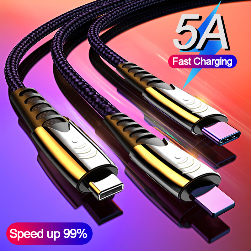 5A Fast Charging 3 in 1 USB Cable Multi Quick Charger Micro USB Type C Cable for iPhone for Samsung for Xiaomi Huawei Oneplus