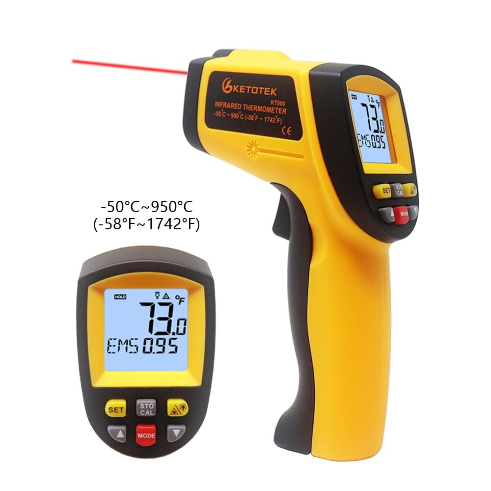 Thermomètre infrarouge numérique IR Laster température mètre sans contact LCD industriel extérieur pistolet pyromètre portable 400 600 950