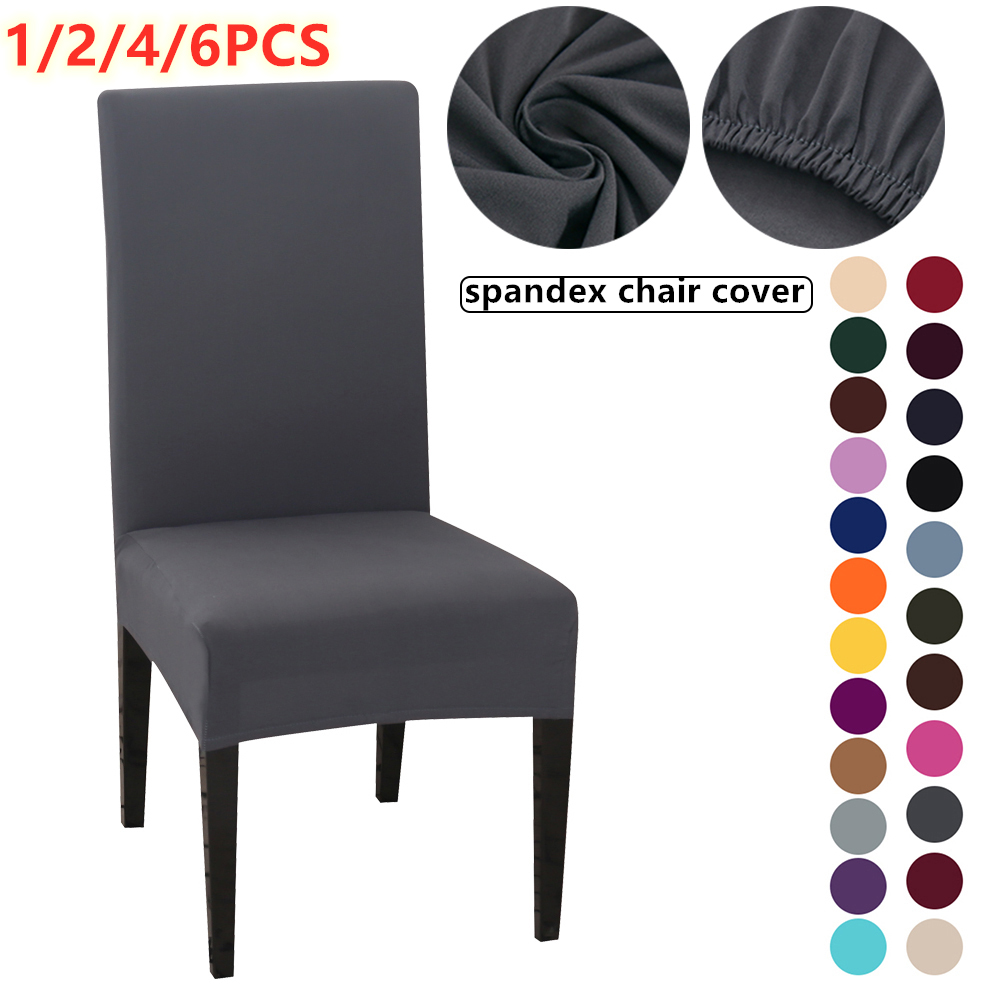 1/2/4/6Pcs Solid Color Chair Cover Spandex Stretch Elastic Slipcovers Chair Covers White For Dining Room Banquet Hotel Kitchen