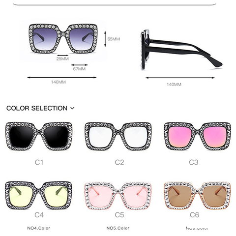Oversize sunglasses Top Rhinestone Luxury Brand Designer Sunglasses for Women Square Shades Women Fashion Retro Sunglasses Karachi