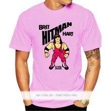 Algodão personalizado impresso o-pescoço camisa masculina t camisa bret hitman hart-bret hitman hart camiseta feminina engraçado camiseta de fitness