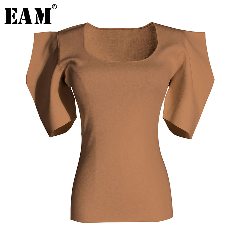 [EAM] Women Black White Knitting High Elasitc T-shirt New Round Neck Half Puff Sleeve  Fashion Tide  Spring Summer 2020 1W568 1