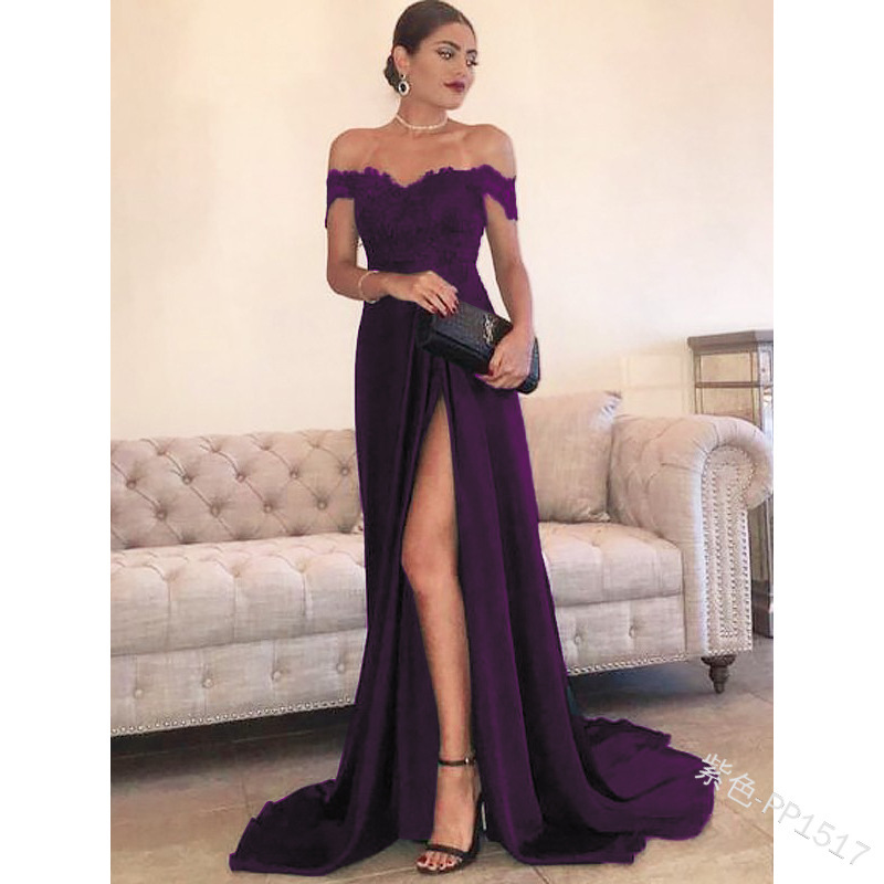 Linglewei New Spring and Summer Women's Dress new sexy off shoulder lace split dress and floor long dress