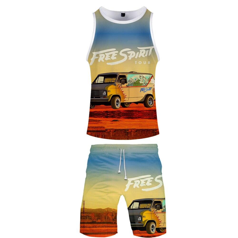 2019 KHALID Two Piece Set Tank Top And Shorts Harajuku Men KHALID T Shirt Streetwear Basketball Sleeveless Sport Wear Loose