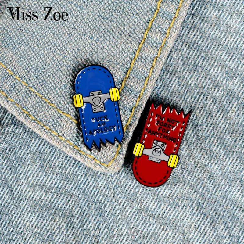 Двойной дилер эмалированная булавка Синий Красный Скейтборд Броши рюкзак одежда отворот штифт Темный значок Панк ювелирные изделия подарок для друзей