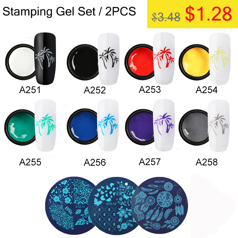 ROSALIND Stamping UV Nail Gel Varnish Set Template Printing Gel Kit Print Oil Cuticle Primer Plate Spider Manicure Set Kit 5ML