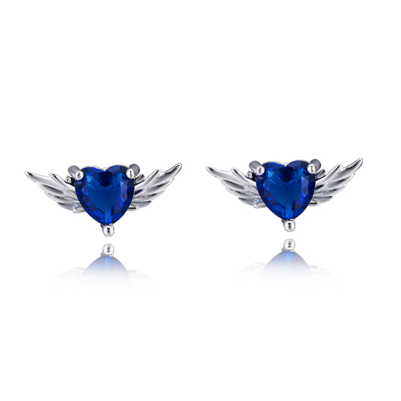 Minimalist Female Blue Crystal Stone Earrings Cute Silver Color Small Stud Earrings Charm Wing Heart Wedding Earrings For Women