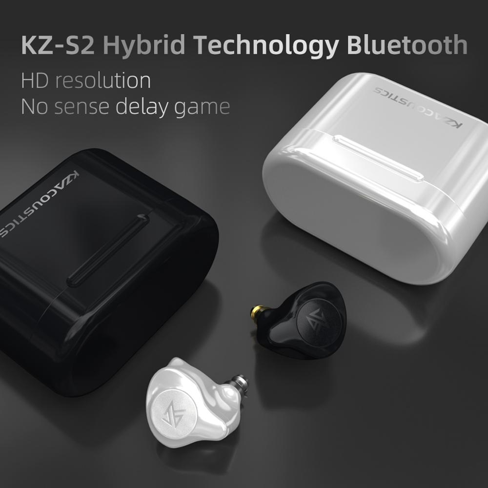 cheapest KZ S2 True Wireless TWS Earphones Bluetooth v5 0 Hybrid 1DD 1BA Game Earbuds Touch Control Noise Cancelling Sport Headset