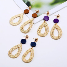 fashion Bohemian style rattan water drop shape charm earrings wooden straw diy handmade y12252