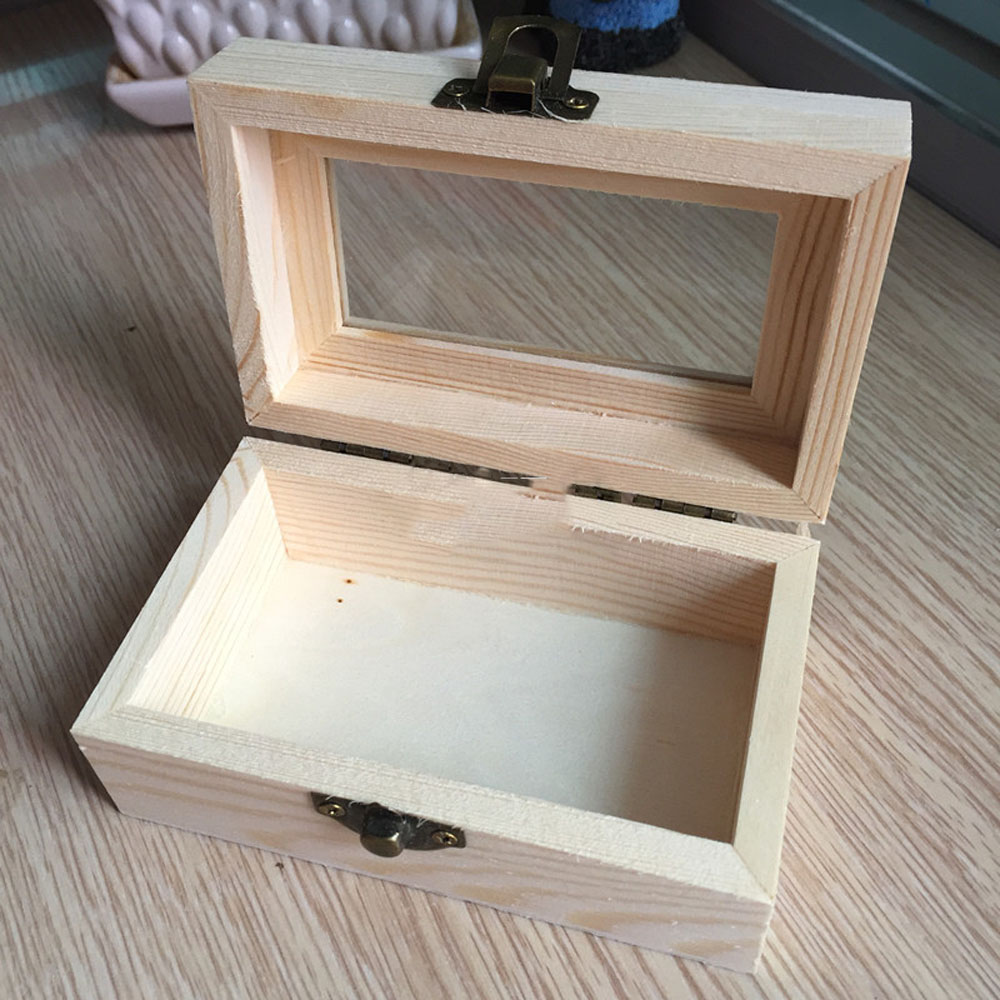 Unfinished Wooden Tool Jewelry Storage Box Glass Lid Chest Case Keepsake Gift Jewelry Case With Glasses Top