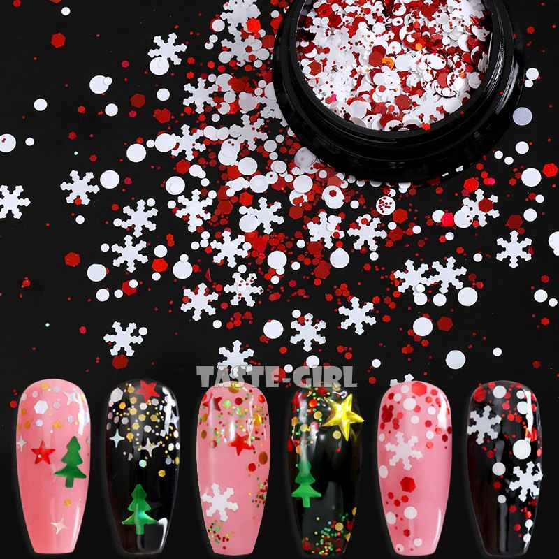 Campuran Kepingan Salju Natal Pohon Natal Cahaya Bintang Holo Nail Glitter Payet Nail Art Slice Stiker Dekorasi 12 Grid/Box atau 1 Jar