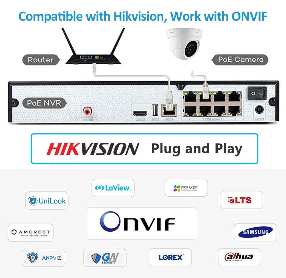 Hikvision compatível 5mp dome poe câmera ip