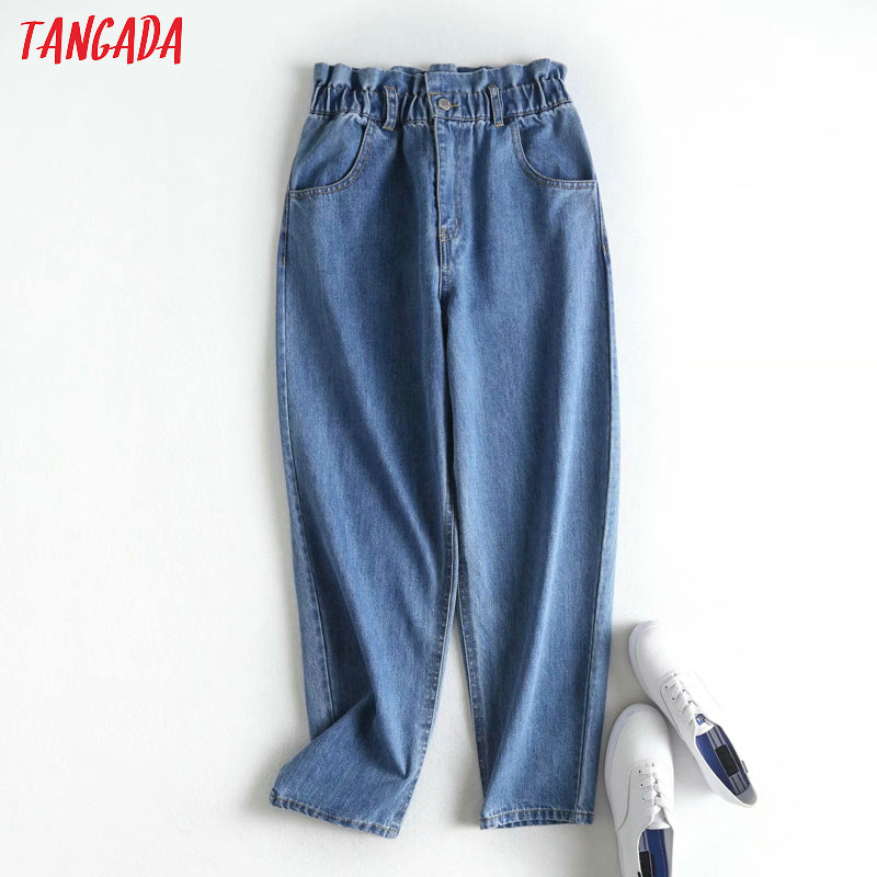 Tangada 2020 Women Blue Casual Jeans Pants Long Trousers Strethy Waist Pockets Zipper Loose Female Pants 2P14