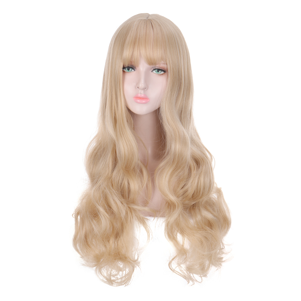 MANWEI Blonde  Lolita Wig With Bangs Long Wavy Synthetic Hair Cosplay Costume Wig For Women Lolita Wig High Temperature Fiber