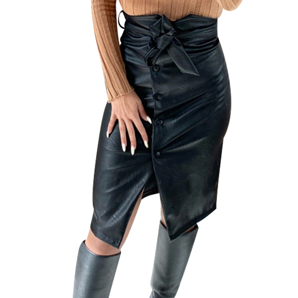 Split Hem Front Leather Skirt Womens Button Belted Black Pu Leather Skirt Casual High Waist Pencil Skirt Ladies Gothic Faldas 30