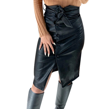 Split Hem Front Leather Skirt Womens Button Belted Black Pu Leather Skirt Casual High Waist Pencil Skirt Ladies Gothic Faldas 30 knot front pep hem striped top with skirt