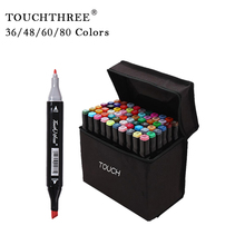 TouchThree Markers 36/48/60/80 Colors Set Permanent Marker Painting Alcohol Ink Double-Ended Pen Art Supplies