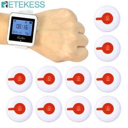 Pager System For Restaurant Waiter Wireless Calling System 1 Watch Pager Receiver + 10 Call Button Transmitter Customer Service