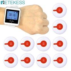 Sistema de pager para restaurante garçom sistema chamada sem fio 1 relógio pager receptor + 10 botão chamada transmissor serviço ao cliente