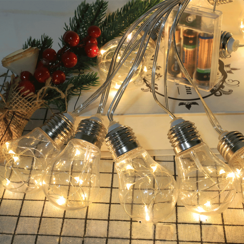 LDE Ball Bulb Copper Wire Light String Fairy Curtain Christmas Wedding Party Light Room Decoration Battery-powered Lights String