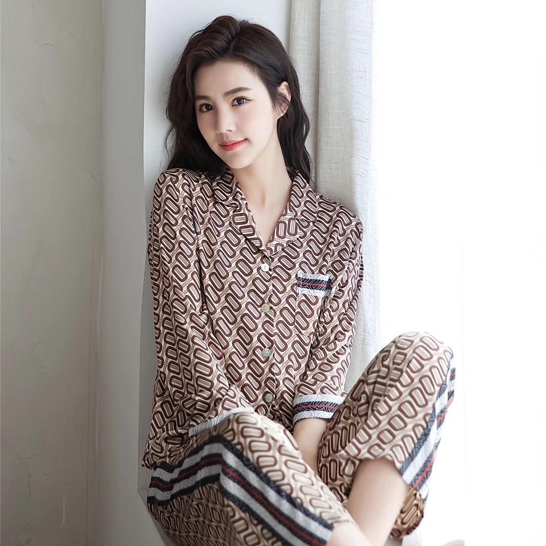 Women Spring Long Sleeve Printing Ice Silk Pajamas Thin Casual Sleepwear Womens Luxury Sexy Clothes Home Pijama 2-piece Set