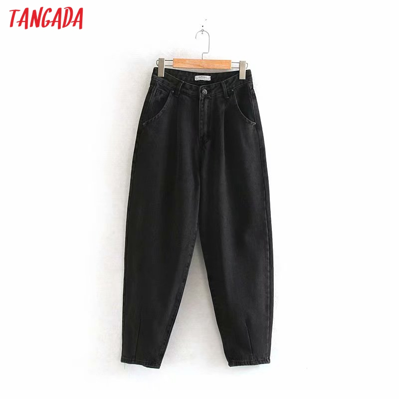 Tangada women violet Chic mom jeans pants 2020 new arrival long trousers pockets zipper loose casual female denim pants 4M108