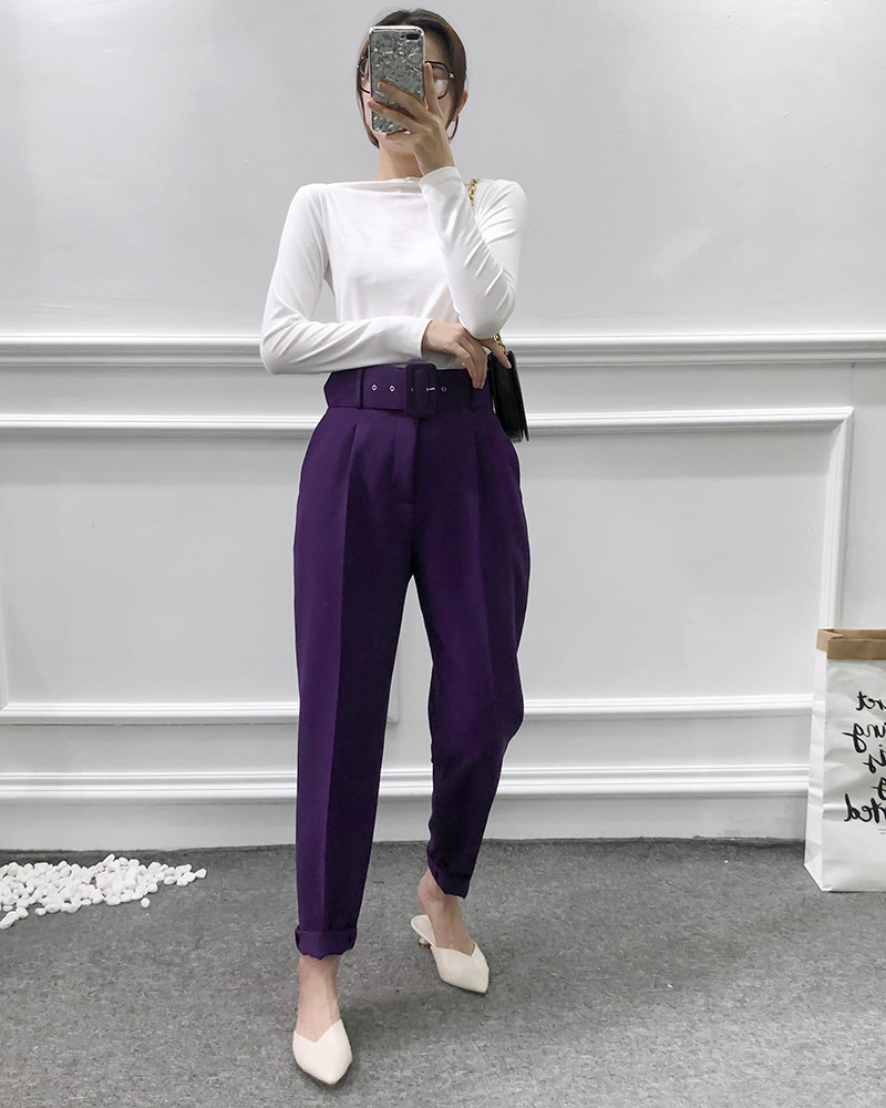 H2097eae363394ce8a8810d0996ec8a0ep - Office Lady Black Suit Pants With Belt Women High Waist Solid Long Trousers Fashion Pockets Pantalones FICUSRONG Pencil