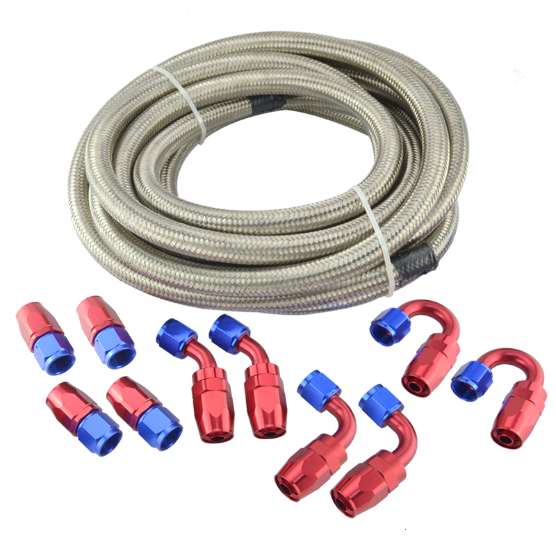 AN6 Double Braided Stainless Steel Oil/Fuel Line Hose 5m Pipe+0+45+90+180 Degree Swivel Fitting 6-AN Oil Hose End Adaptor Kit