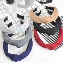 Retro mujeres gruesas Banda ancha diadema tejida Cruz anudada cabeza aro Cintas de Pelo para chicas accesorios para el pelo Aro para la cabeza