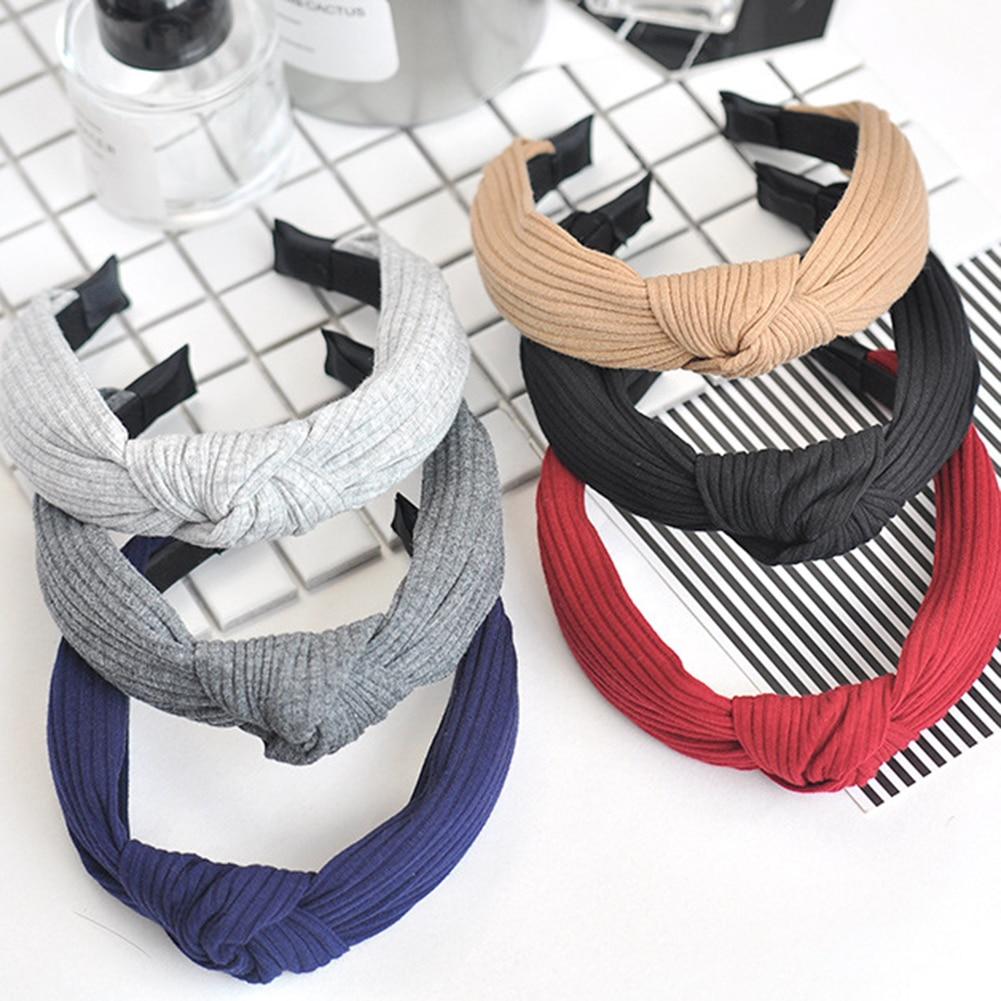 Women Summer Autumn Headband Vintage Cross Knot Elastic Hair Bands Soft Solid Girls Hairband Hair Accessories Korean Fashion
