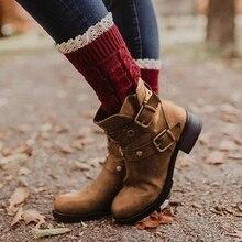 купить Boots Women New Winter Shoes Woman Flat Heel Zipper Ankle Boots Retro Buckle Platform Pu Leather Women Shoes Zapatos De Mujer дешево