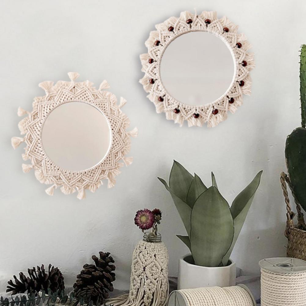 parede artesanal corda algodão maquiagem espelho para